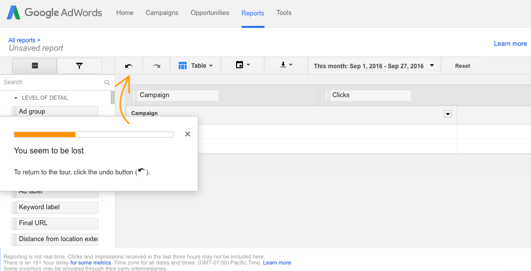 google adwords product tour tooltip