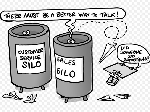 This is a cartoon showing 2 silos labled customer service silo and sales silo trying to talk to each other.
