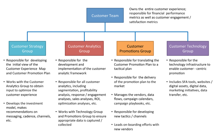 This is a flow chart showing responsibilities across teams for ownership ovrer different parts of the customer experiene. It shows the customer team broken down into 4 groups: customer stragey, customer analytics, customer promotions, and customer technology.