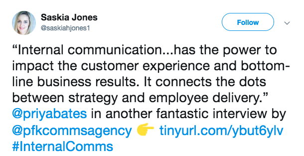 This is a screenshot of a tweet that reads: internal communication has the power to impact customer experience and bottom-line business results. it connects the dots between strategy and employee delivery