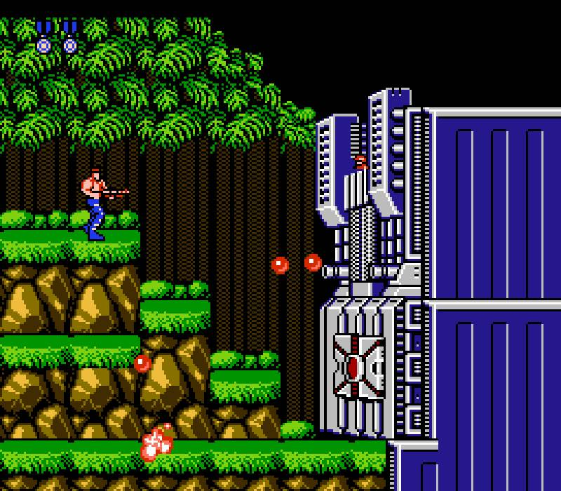 This is a screenshot of Contra Nintendo NES gameplay. This is an example of a classic 1980s nintendo game that was difficult to play and was not designed for beginners.