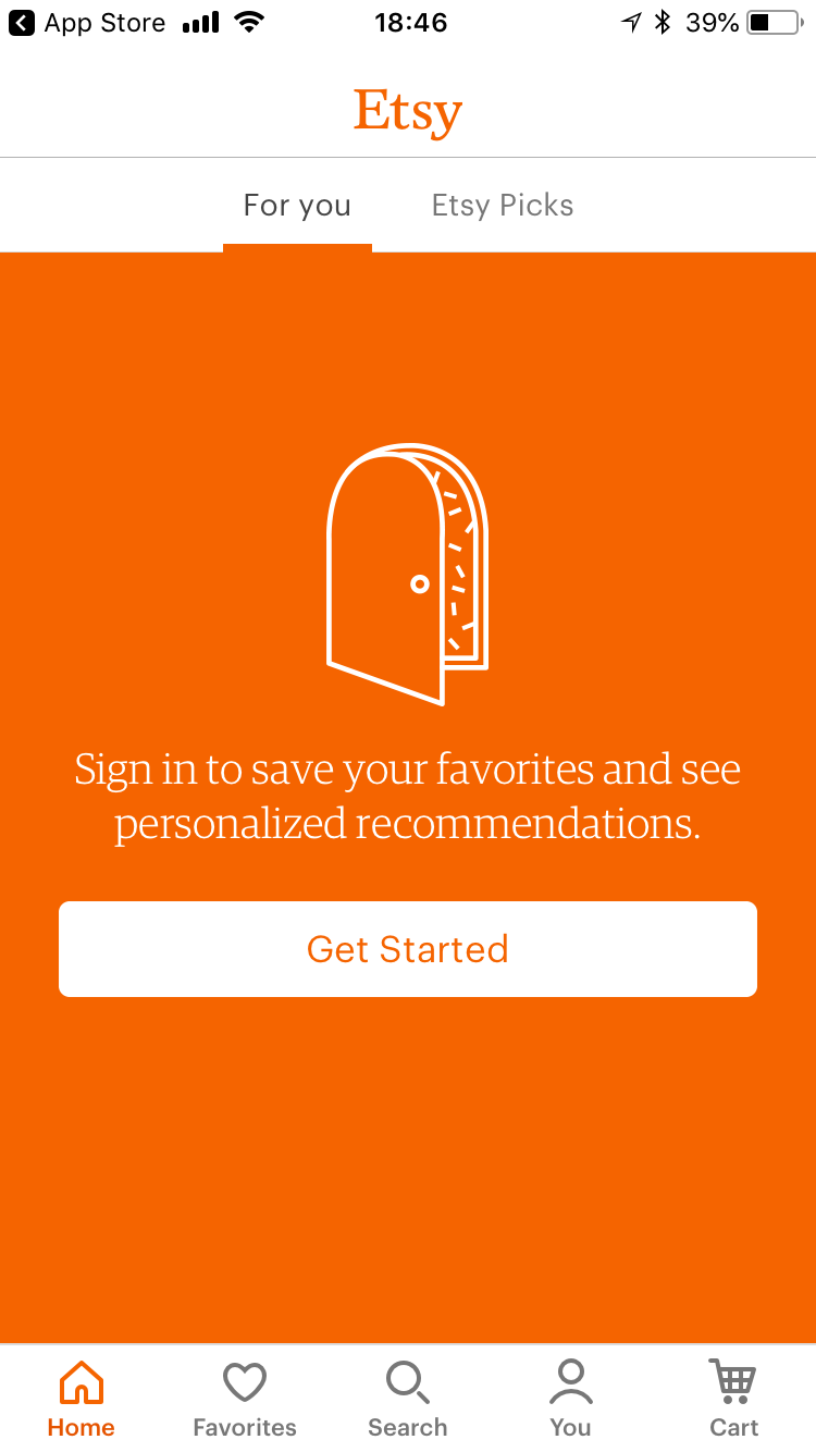 """This is a screenshot of Etsy mobile app sign up login screen. It shows an illustration of a door on an orange background and a cta that says """"get started"""""""