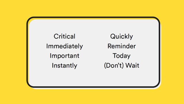 This is a list of power ux copy words that express urgency and promote users to action. The list includes: critical, immediately, important, instantly, quickly, reminder, today, don't wait