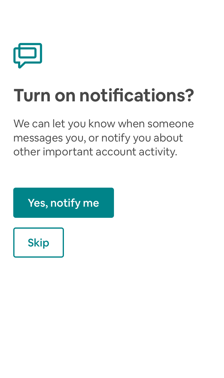"""this is a push notification permission priming screen from Airbnb mobile app for iOS. It is a full screen that asks """"turn on nofications?"""" with two buttons that read """"yes, notify me"""" and """"skip"""""""