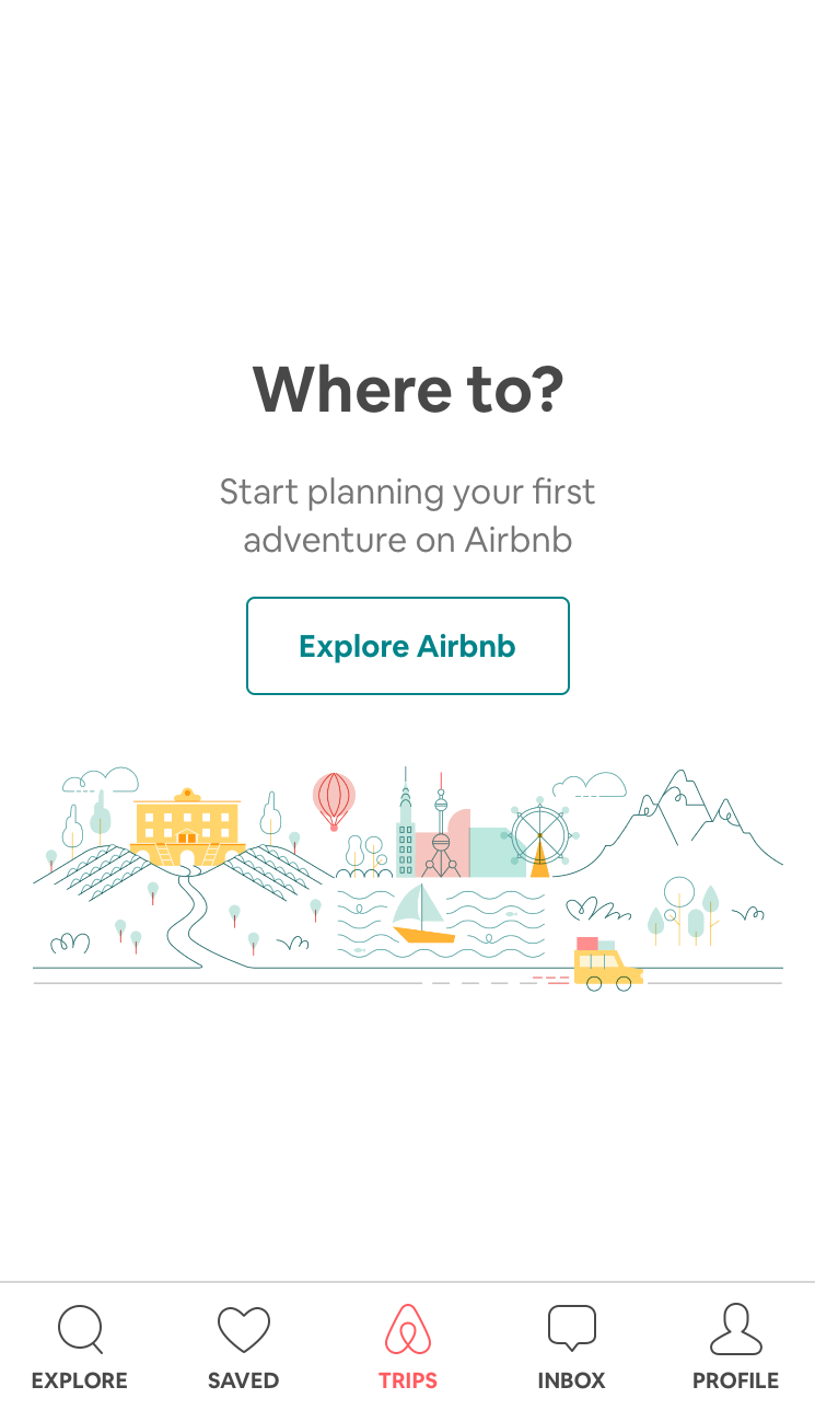 """This is a screenshot of airbnb's mobile app that uses powerful ux copy with emotive words to inspire users to take action. It says """"start planning your first adventure on airbnb"""" and the cta button reads """"explore airbnb"""""""