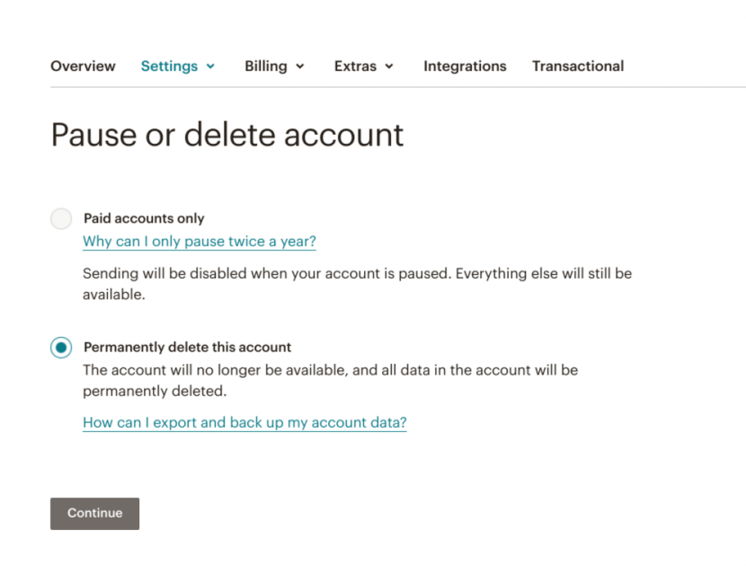 This is a screenshot of mailchimp's account cancellation user offboarding flow. It says pause or delete mailchimp account.