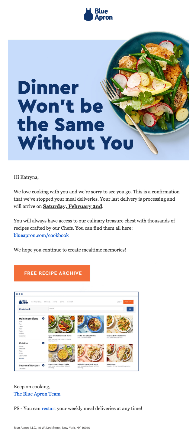 """This is an email from Blue Apron after you cancel your account. It says """"dinner won't be the same without you"""" and gives a link to the blue apron cookbook recipe archive"""
