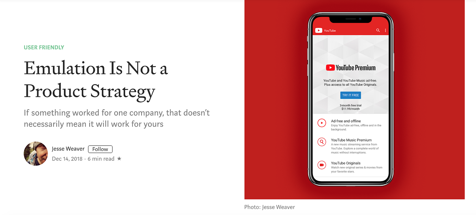 """This is an image of an article about product strategy that shows a cell phone screen with youtube premium. The title of the article is """"Emulation is not a product strategy"""""""