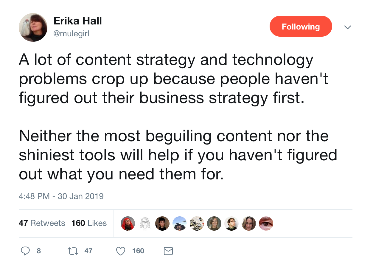 This is a tweet from erika hall about business strategy. This tweet is from January 30 2019.