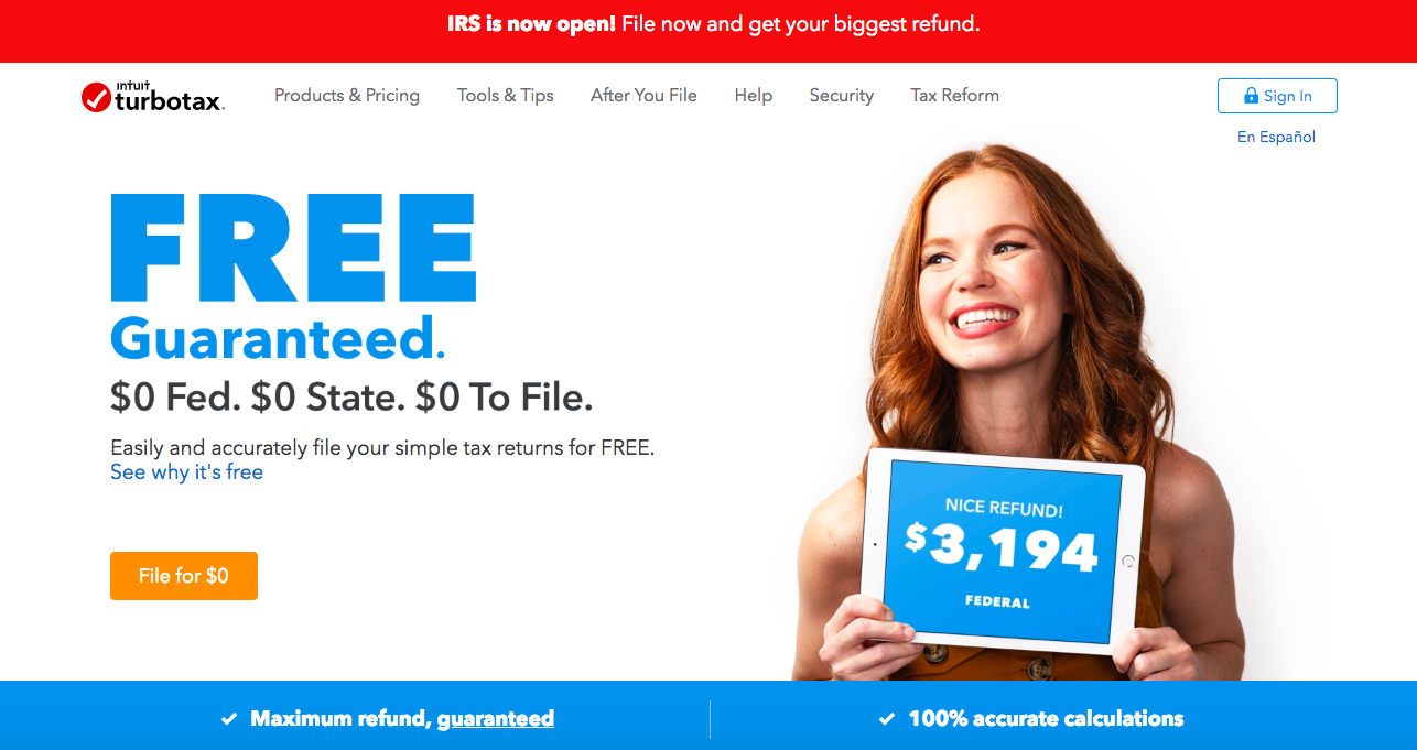 """This is a screenshot of intuit turbotax's website from february 2019. It says """"FREE guaranteed"""" """"maximum refund, guaranteed"""" """"100% accurate calculations"""" with a photo of a woman holding a tablet that shows the amount of her federal tax refund"""