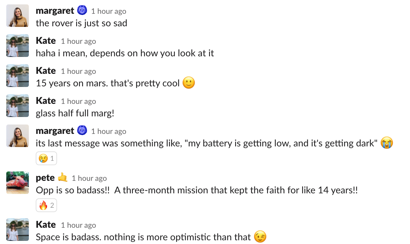 this is a slack conversation between coworkers at a product company talking about the mars rover opportunity