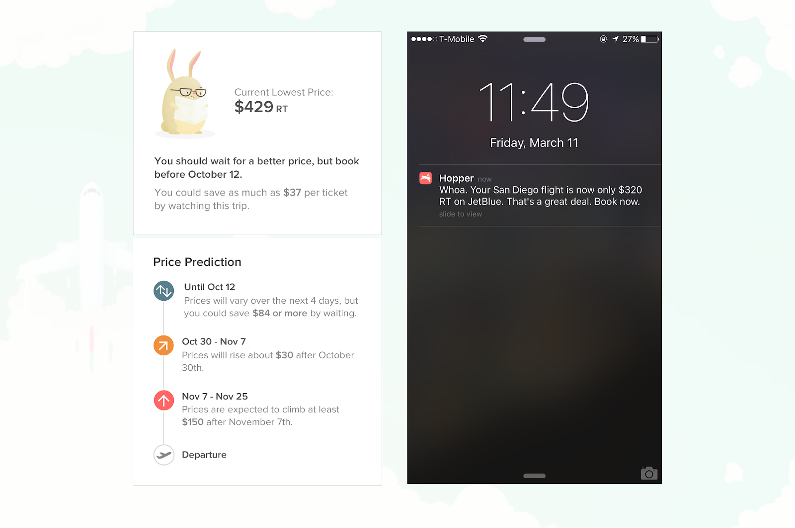 this is an image from hopper travel app showing current flight prices and recommendations with a reading rabbit icon on the left side. on the right side is a preview of a hopper notification on a phone lock screen