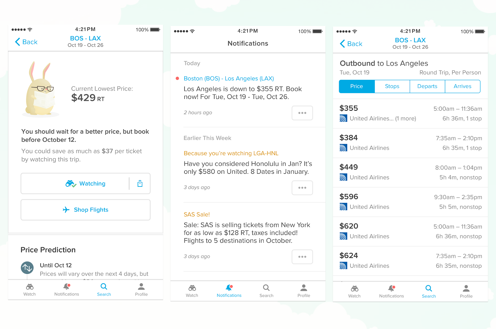 this is an image of 3 mobile screens from the hopper flight price tracking app. on the left are buy/wait recommendations based on the current price of a bos-lax flight. in the middle are in-app notifications from hopper in a notification center. on the right is a flight search for boston to los angeles flights.