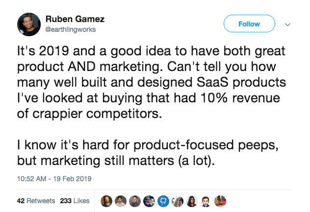 this is a tweet from ruben gamez about product marketing and the importance of marketing for sa