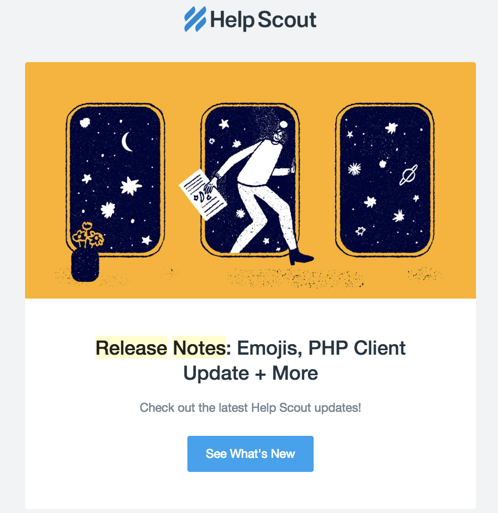 this is a product release notes email example from help scout showing a large hero header image, header text, and blue call to acton button