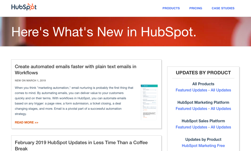"this is a screenshot of hubspot's product release blog. there is a header that reads ""here's what's new in HubSpot"". Below, there is a menu on the righthand side and a list of recent blog posts about new feature updates and releases"