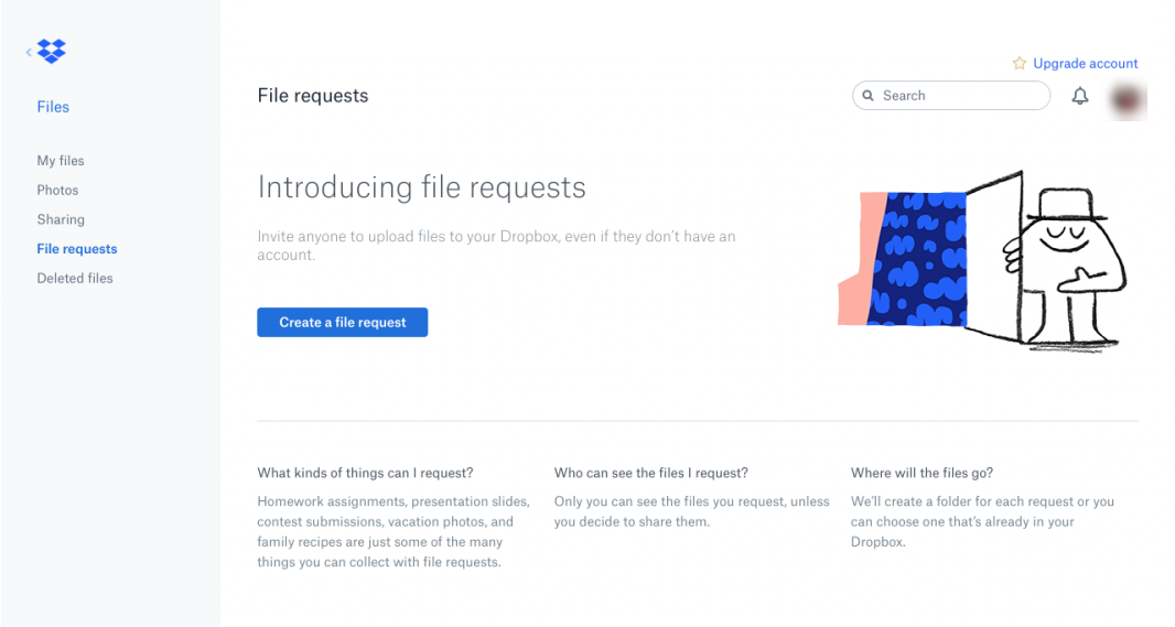 this is a screenshot image from dropbox that shows an example of clear UX copy and microcopy that uses plain language.
