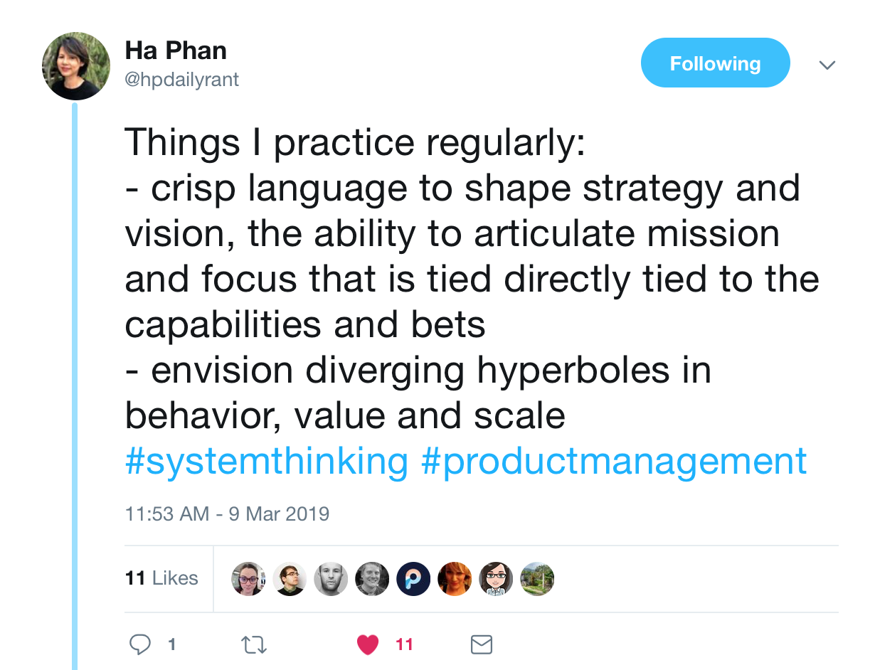 """A tweet from @hpdailyrant that says, """"Things I practice regularly: 1. crisp language to shape strategy and vision, the ability to articulate mission and docus that is tied directly to the capabilities and bets. 2. envision diverging hyperboles in behavior, value, and scale"""