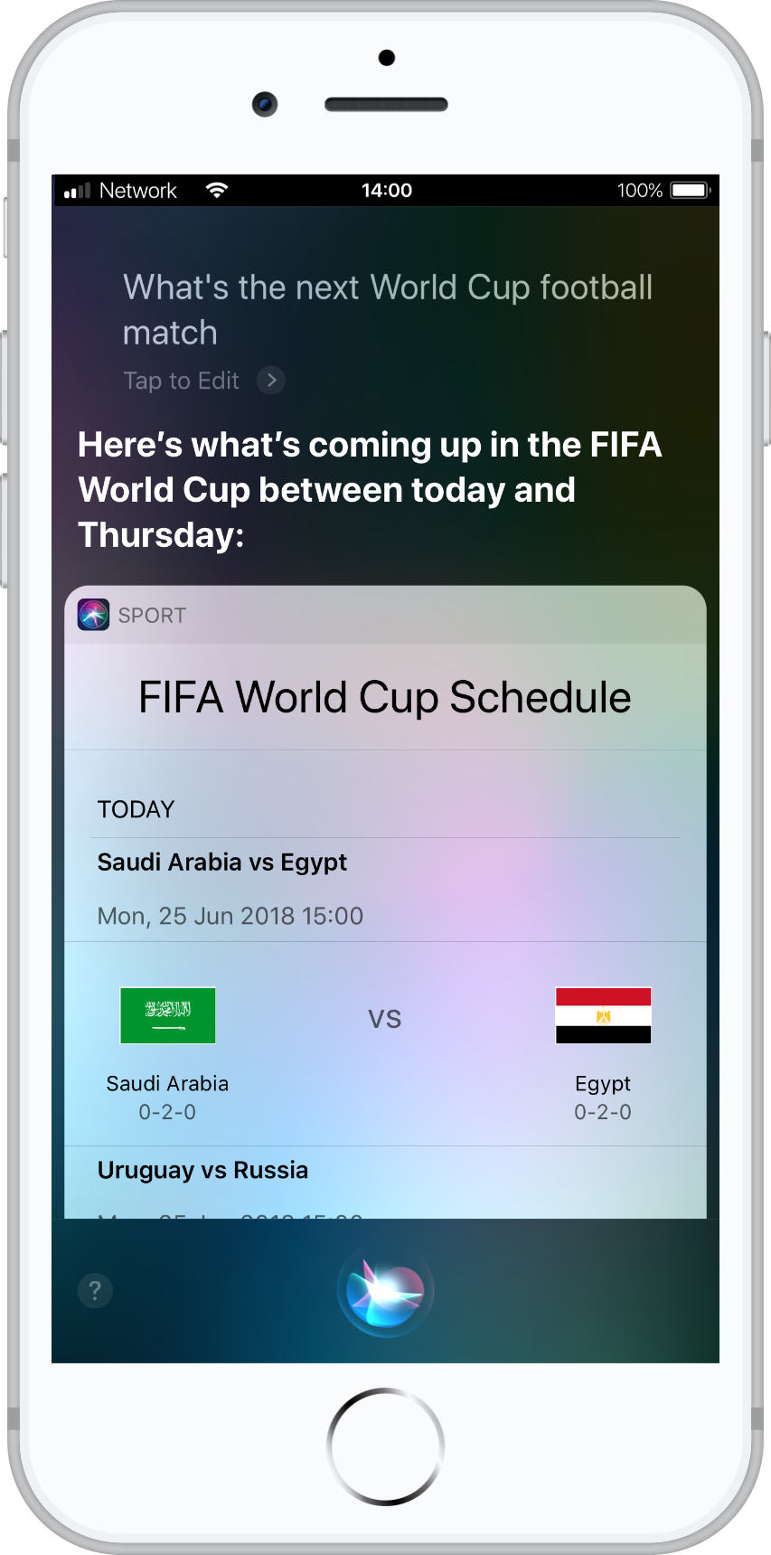 Next football match screenshot