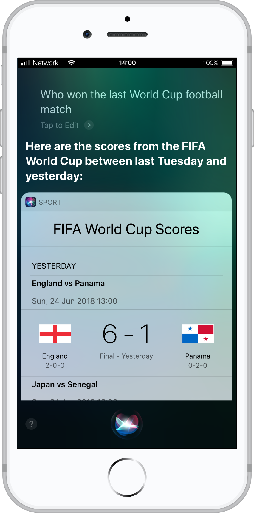 Who won the last World Cup football match?