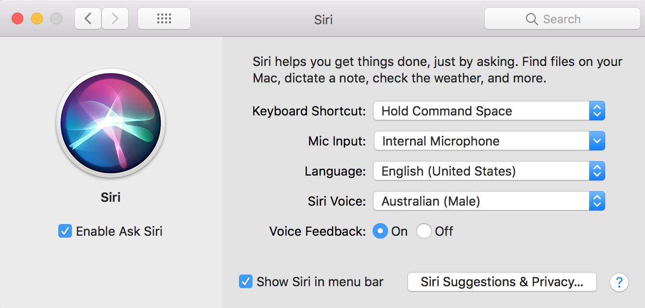 Siri Voice Settings on macOS