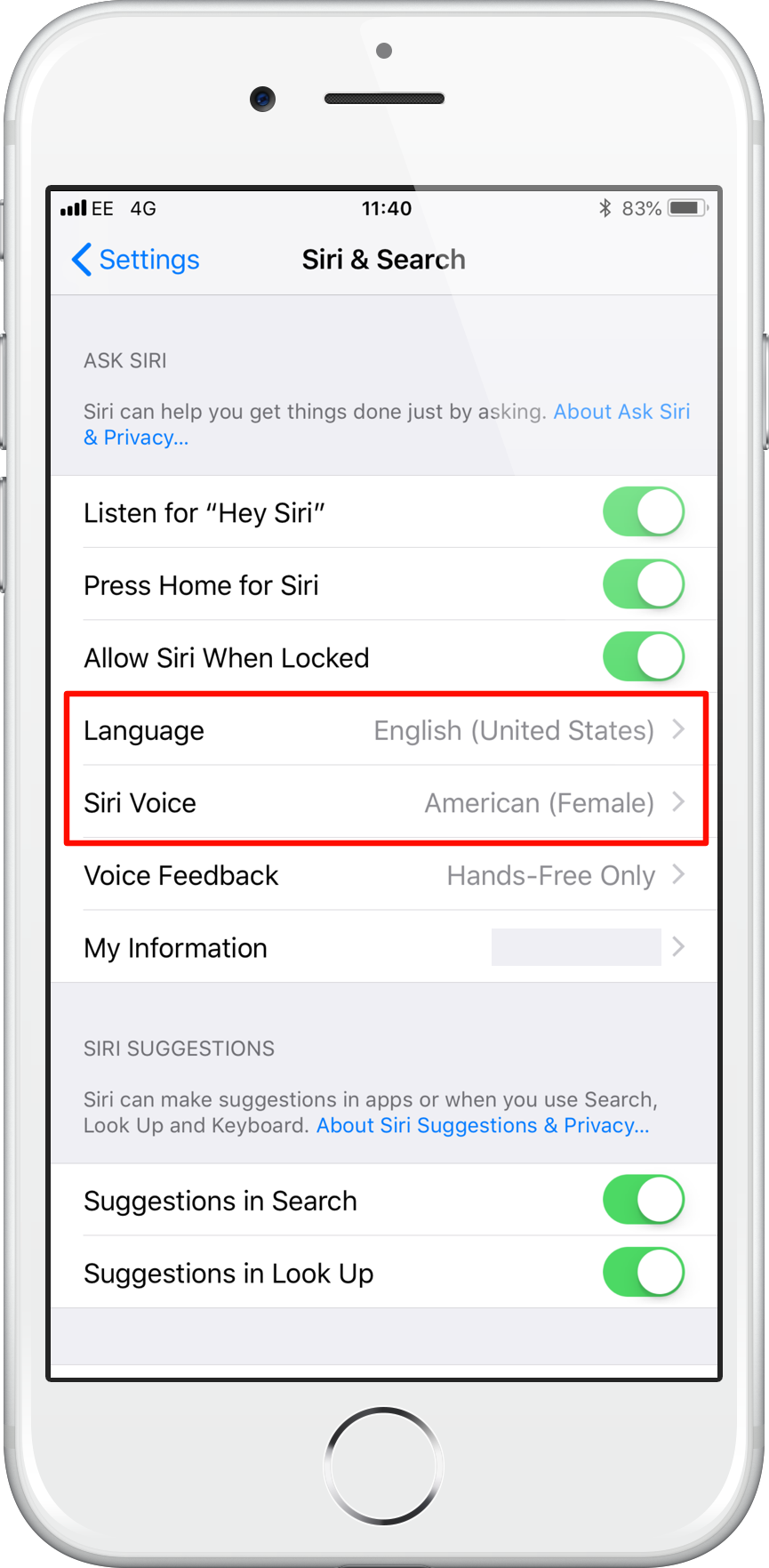 Siri Language Settings