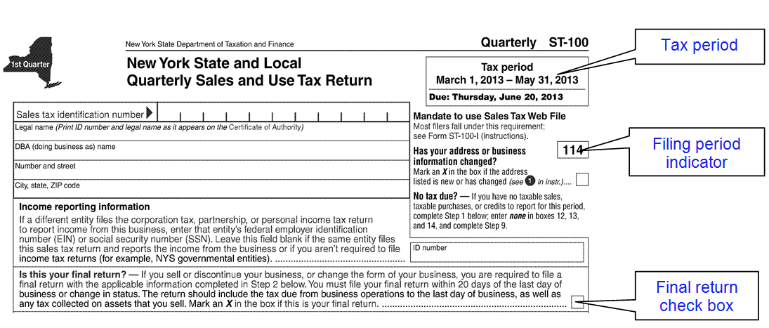 NYS Sales Tax Filing