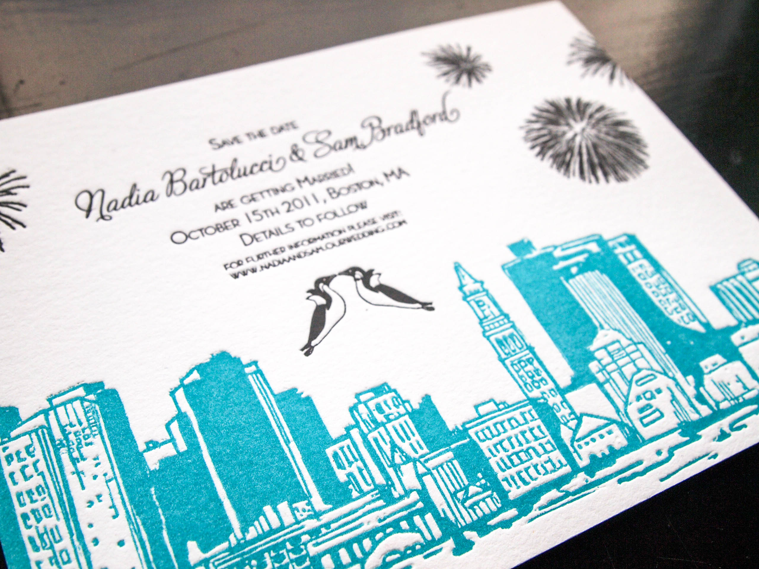 Nadia Bartolucci and Sam Bradford  Boston Harbour wedding letterpress save the date. Illustration by Danielle Malmgren