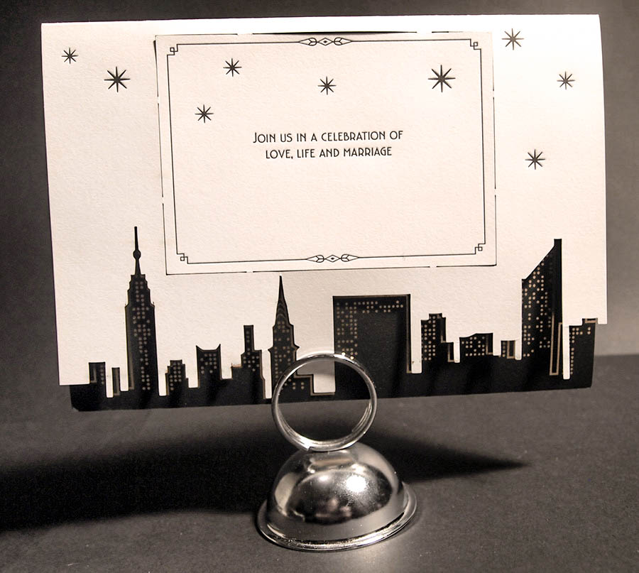New York City laser cut skyline art deco letterpress wedding invitation