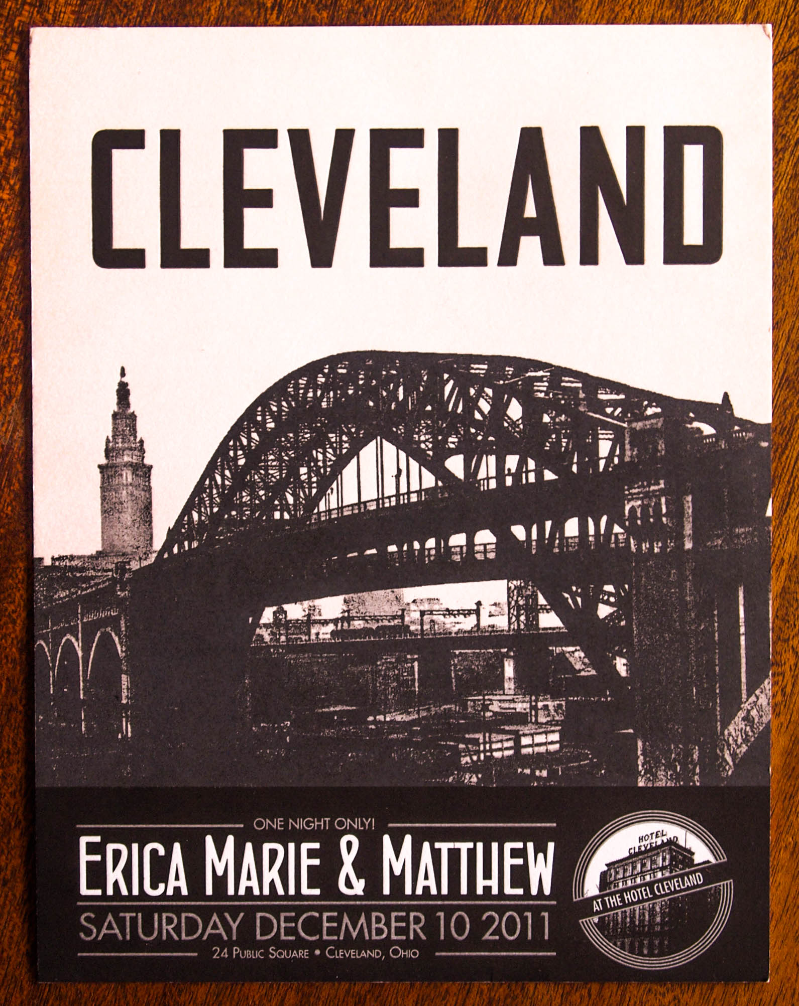 Vintage Cleveland travel poster themedsave the date designed and printed by Giant Squid Press
