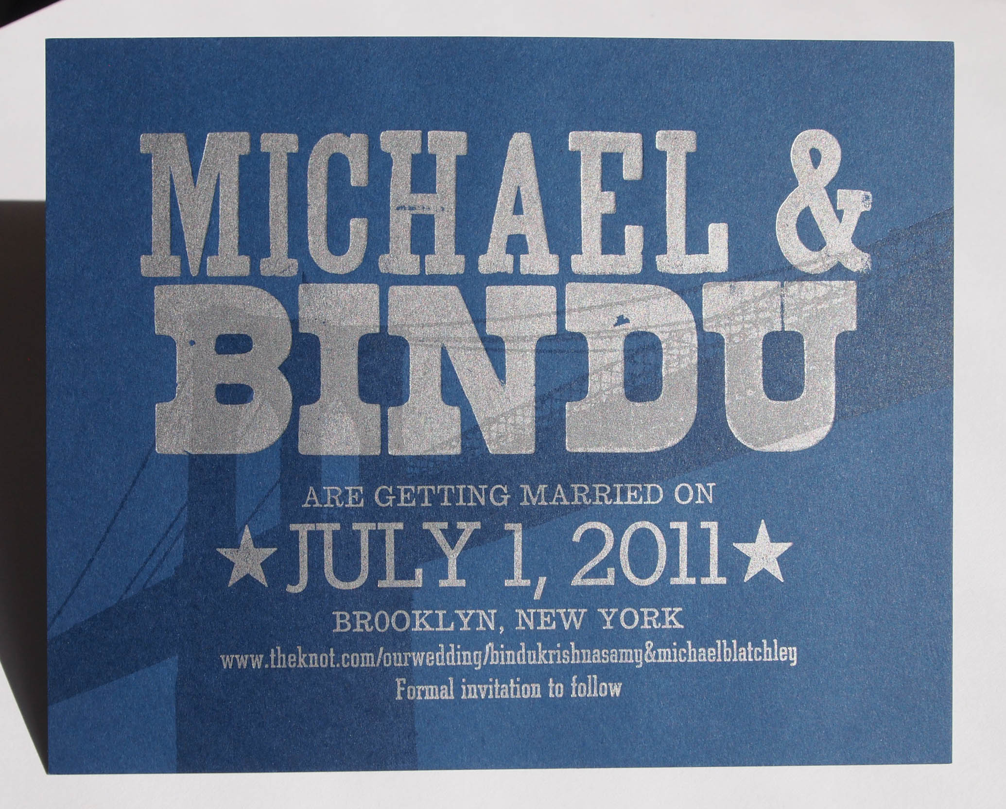 Michael and Bindu's Brooklyn Bridge vintage woodtype letterpress save the date