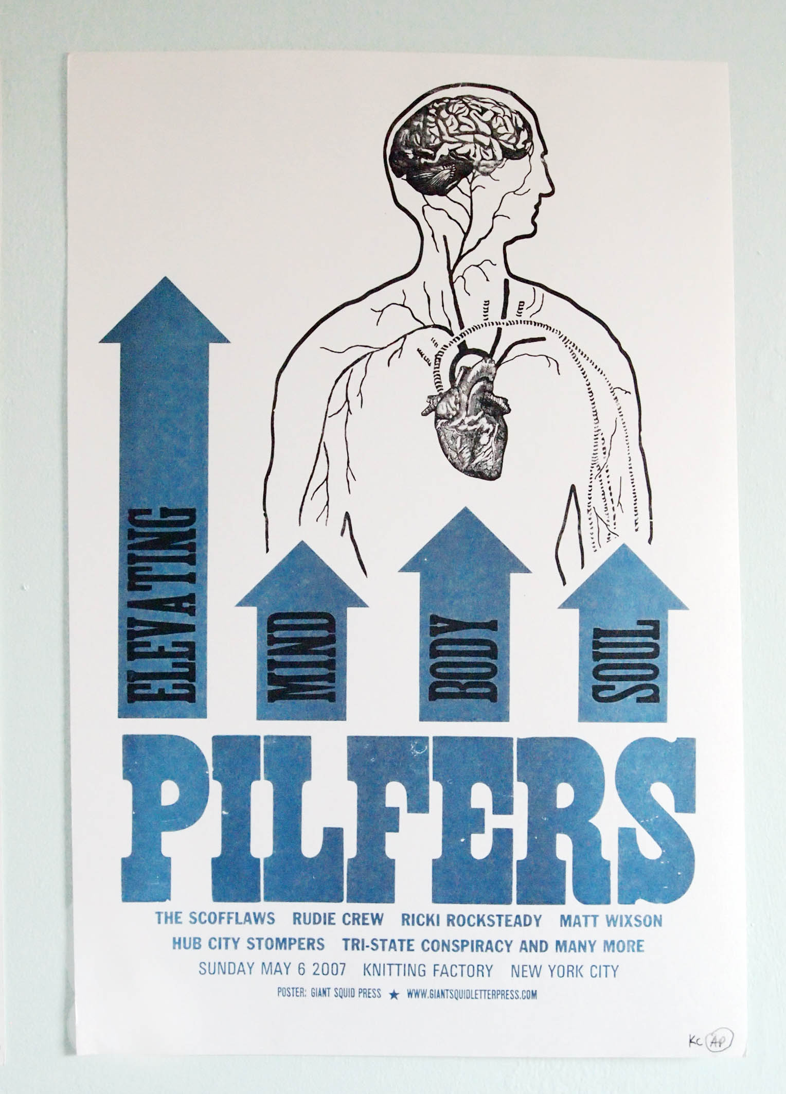 Pilfers NYC Ska letterpress concert poster at the Knitting Factory NYC