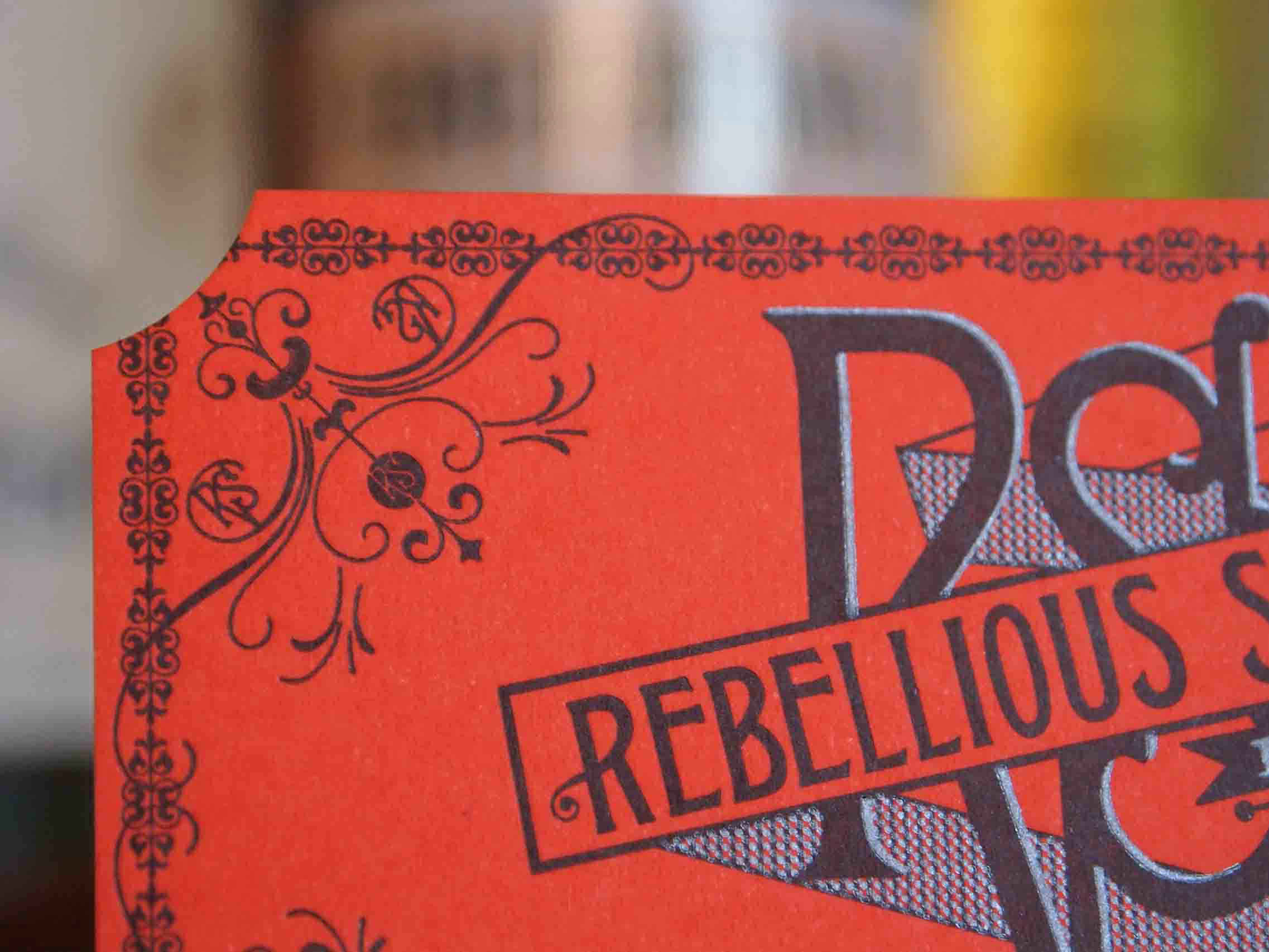 Rebellious Spirits die-cut business cards, designed and printed by us