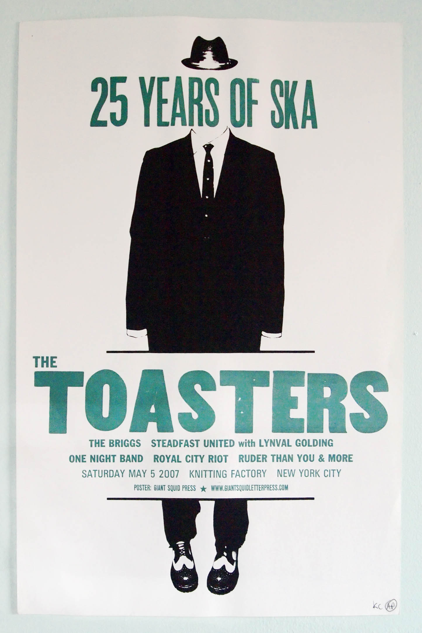 The toasters 25 years of ska concert poster at the Knitting Factory NYC