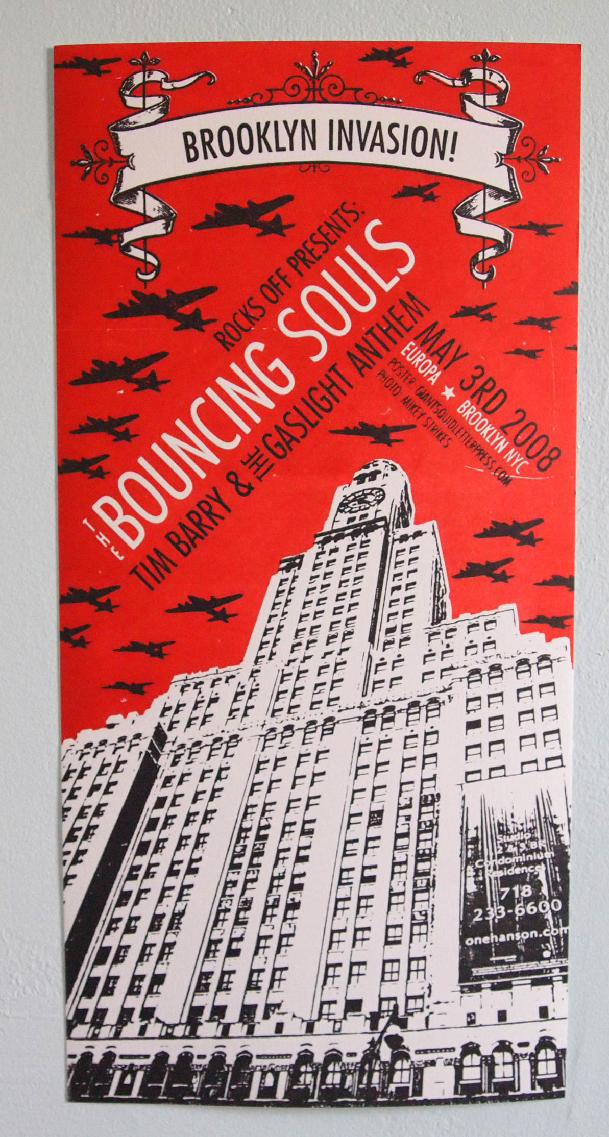 """Brooklyn Invasion"" letterpress concert poster with the Bouncing Souls, Tim Barry and The Gaslight Anthem at Europa in Greenpoint Brooklyn by Giant Squid Press"