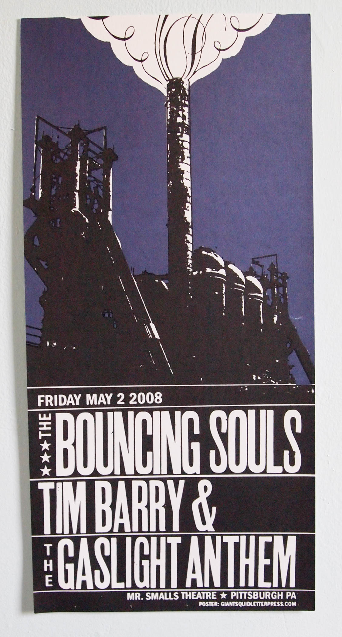 Bouncing Souls, Tim Barry and the Gaslight Anthem letterpress concert poster at Mr. Smalls in Pittsburg
