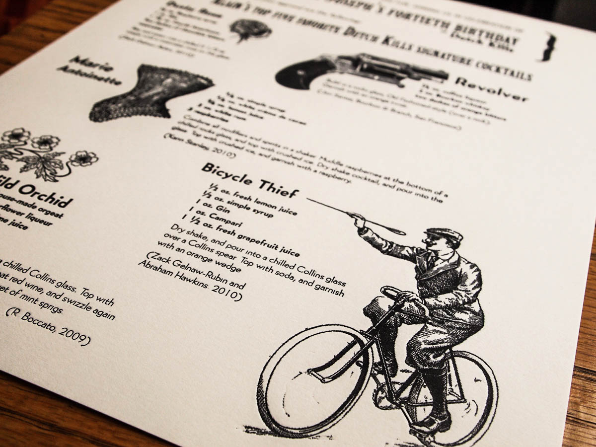 Custom cocktail menu for Alain Joseph's 40th birthday at Dutch Kills featuring the Bicycle Thief cocktail