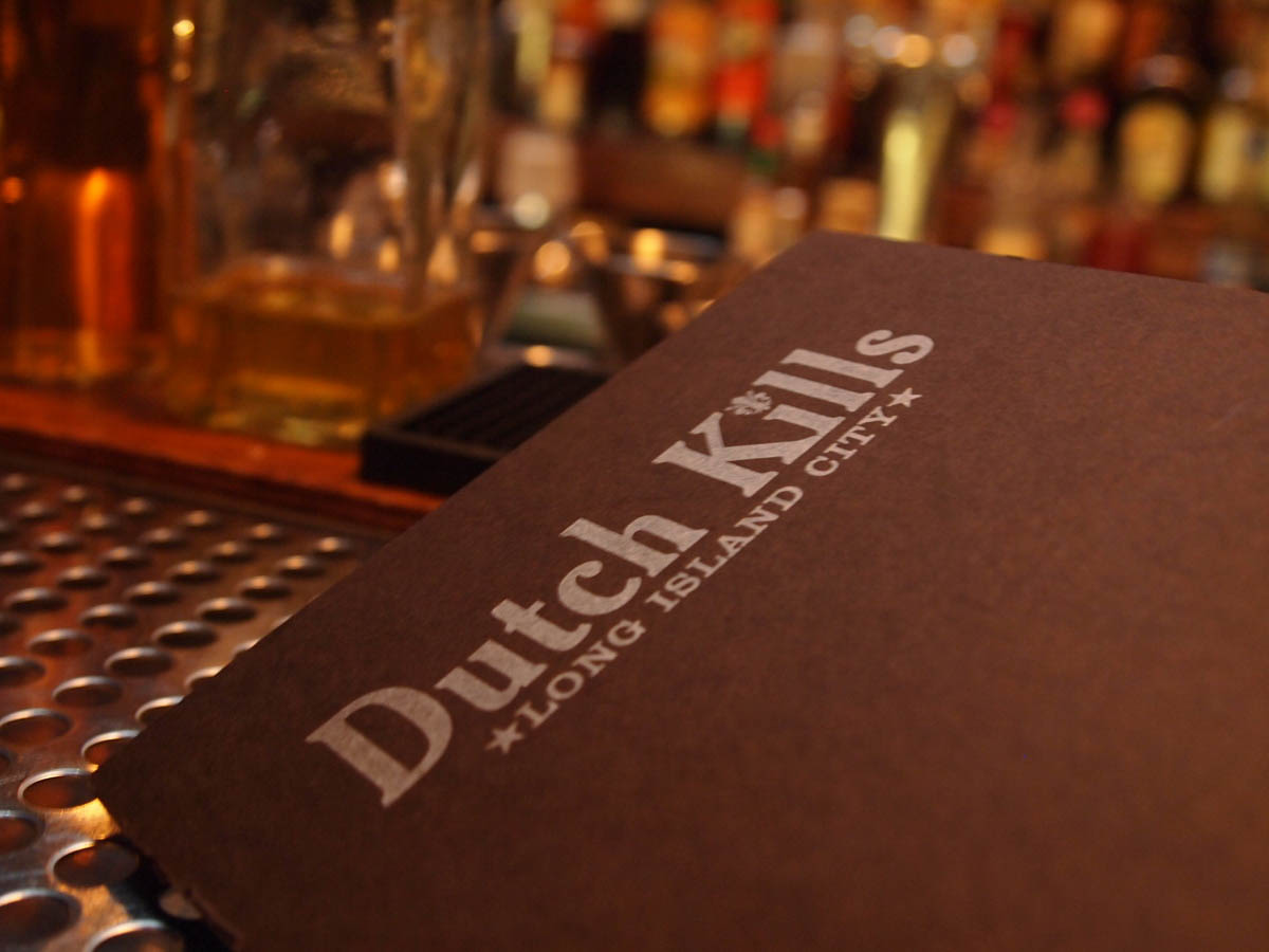 Dutch Kills Bar, Long Island City letterpress menu cover
