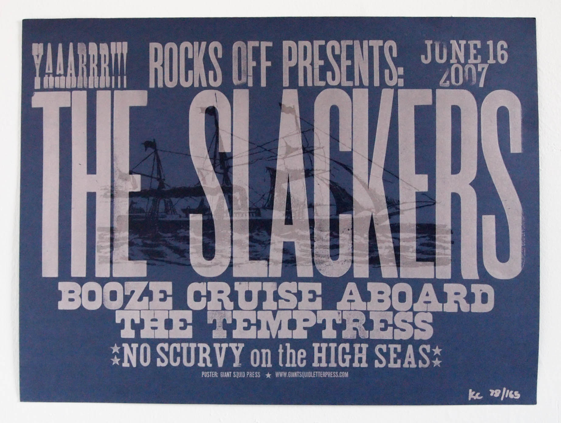 "The Slackers ""Booze Cruise"" letterpress woodtype concert poster for Rocks Off concert cruises"