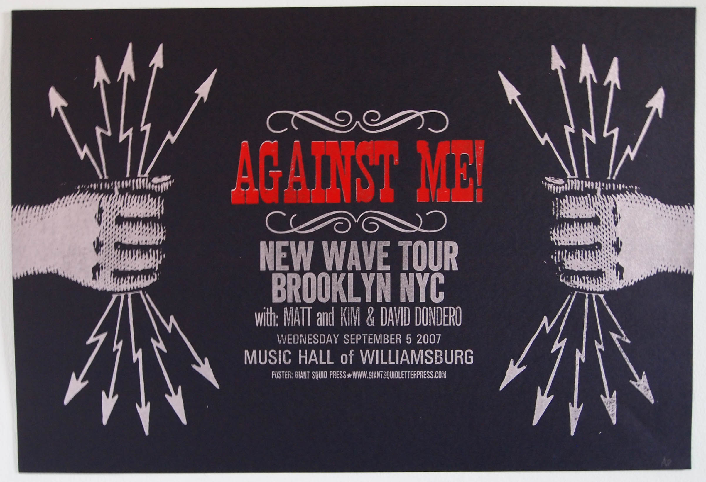 Against Me! Letterpress concert poster at the Music Hall of Williamsburg