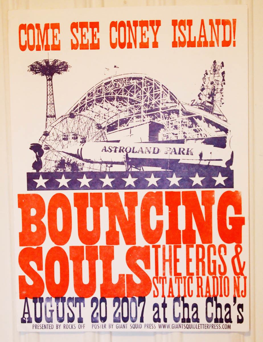 Vintage Astroland Park Coney Island themed woodtype letterpress concert poster for the Bouncing Souls at Cha Cha's