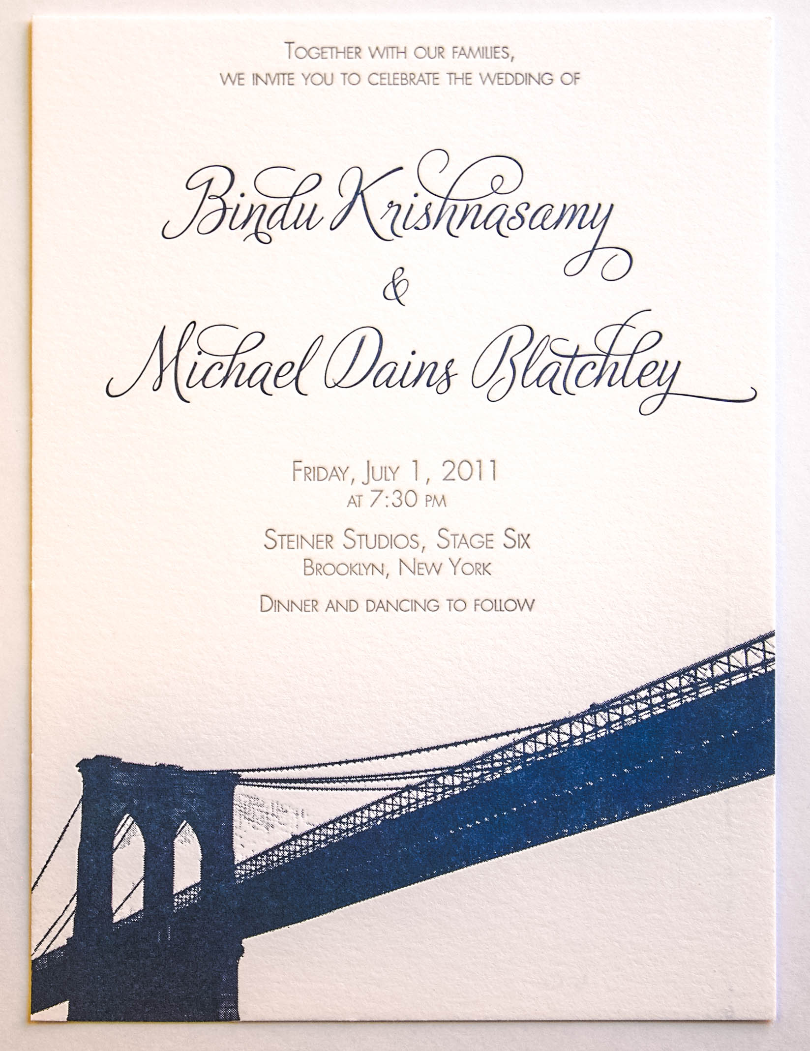 Bindu and Michael's Brooklyn Bridge custom designed and letterpress wedding invitation