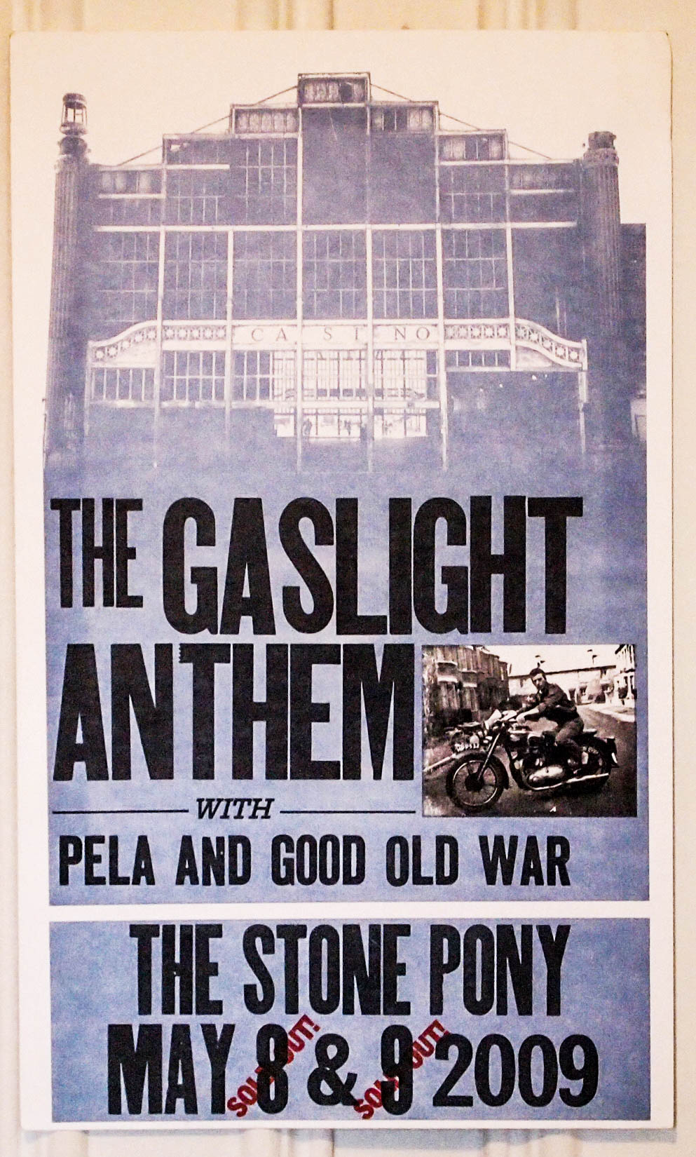 The Gaslight Anthem '59 sound letterpress woodtype concert poster at the Stone Pony in Asbury Park NJ