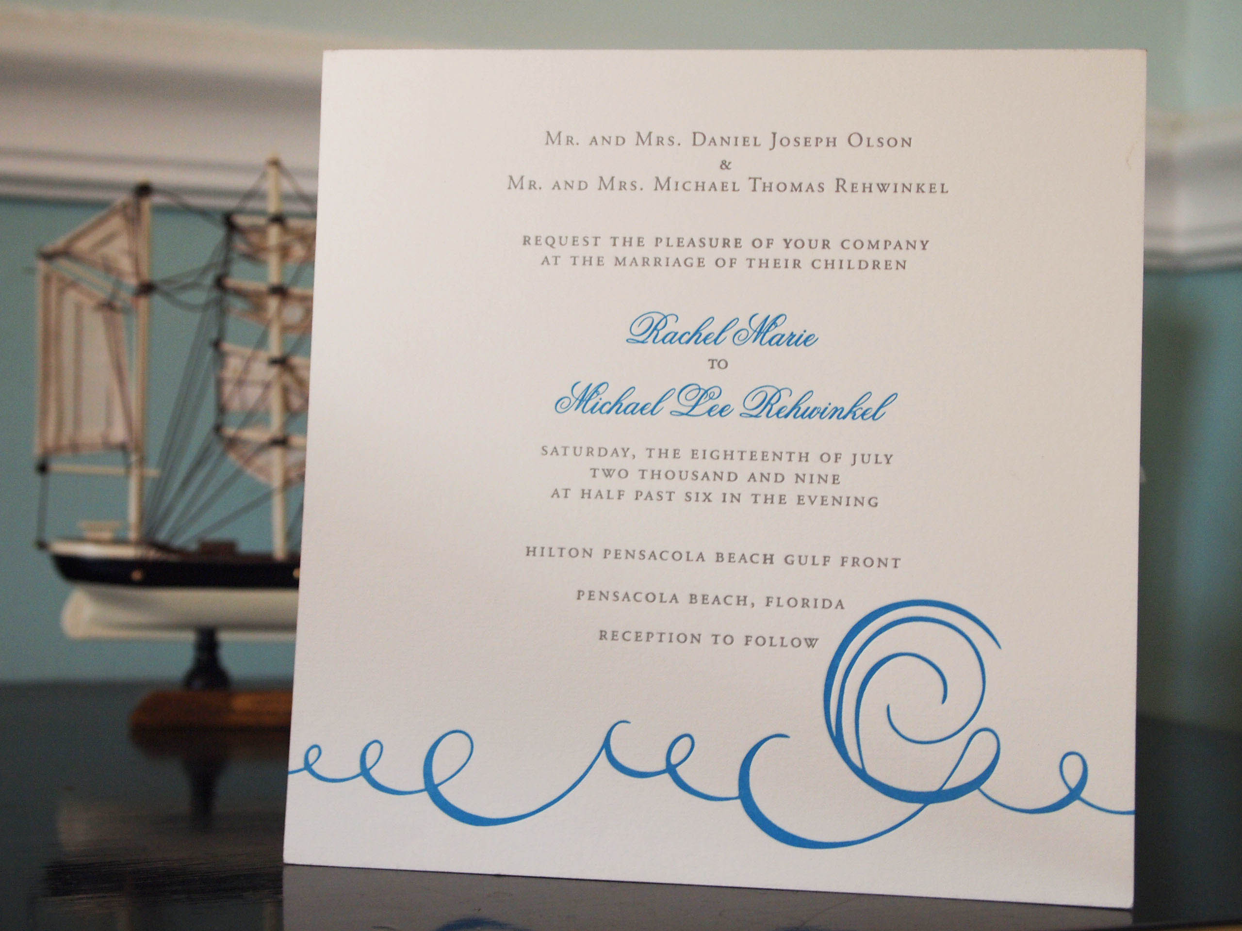 Rachel and Lee's nautical Carolina beach custom designed letterpress invitation