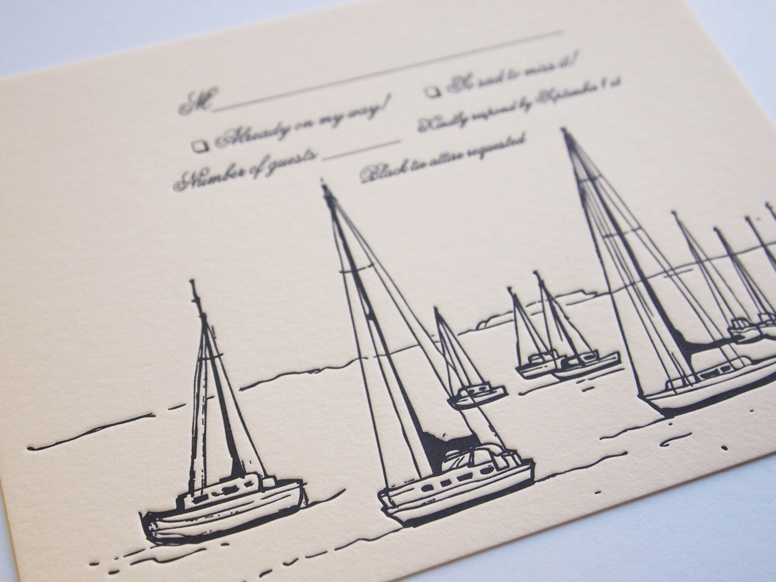 Nadia and Sam  Boston sailboat letterpress wedding RSVP. Illustration by Danielle Malmgren