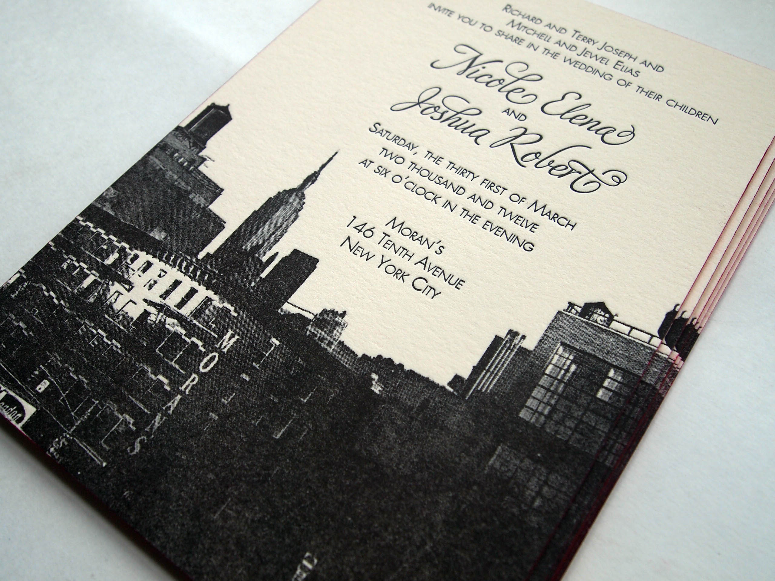 Custom Designed NYC Empire State Building letterpress wedding invitation with painted edge