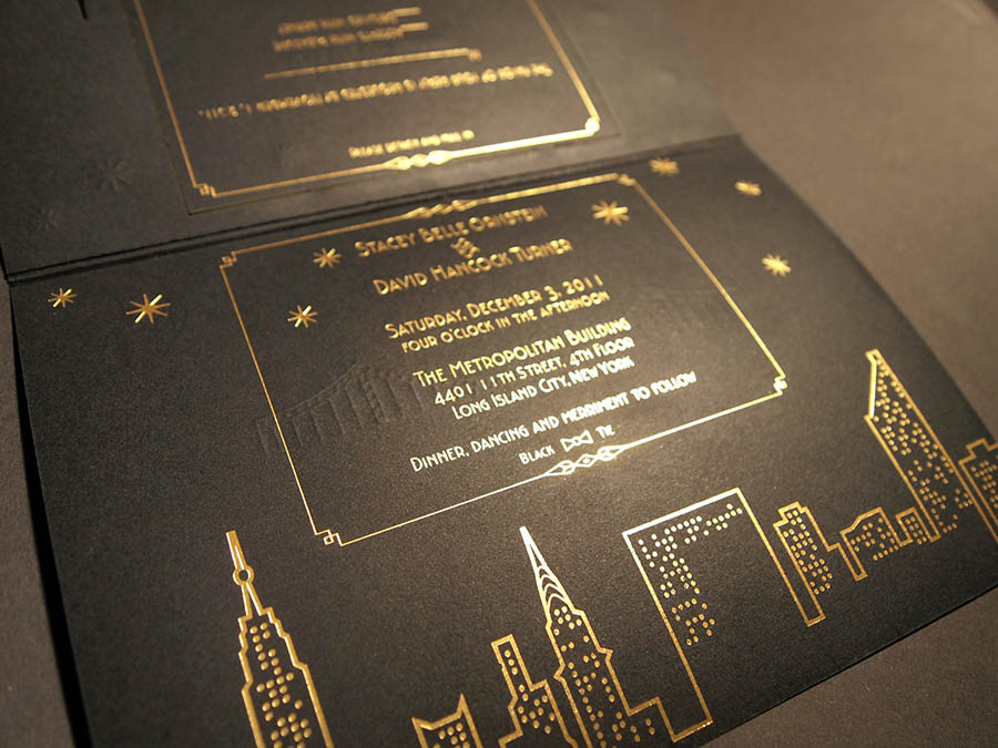 Inside foil stamp of NYC skyline art deco letterpress wedding invitation
