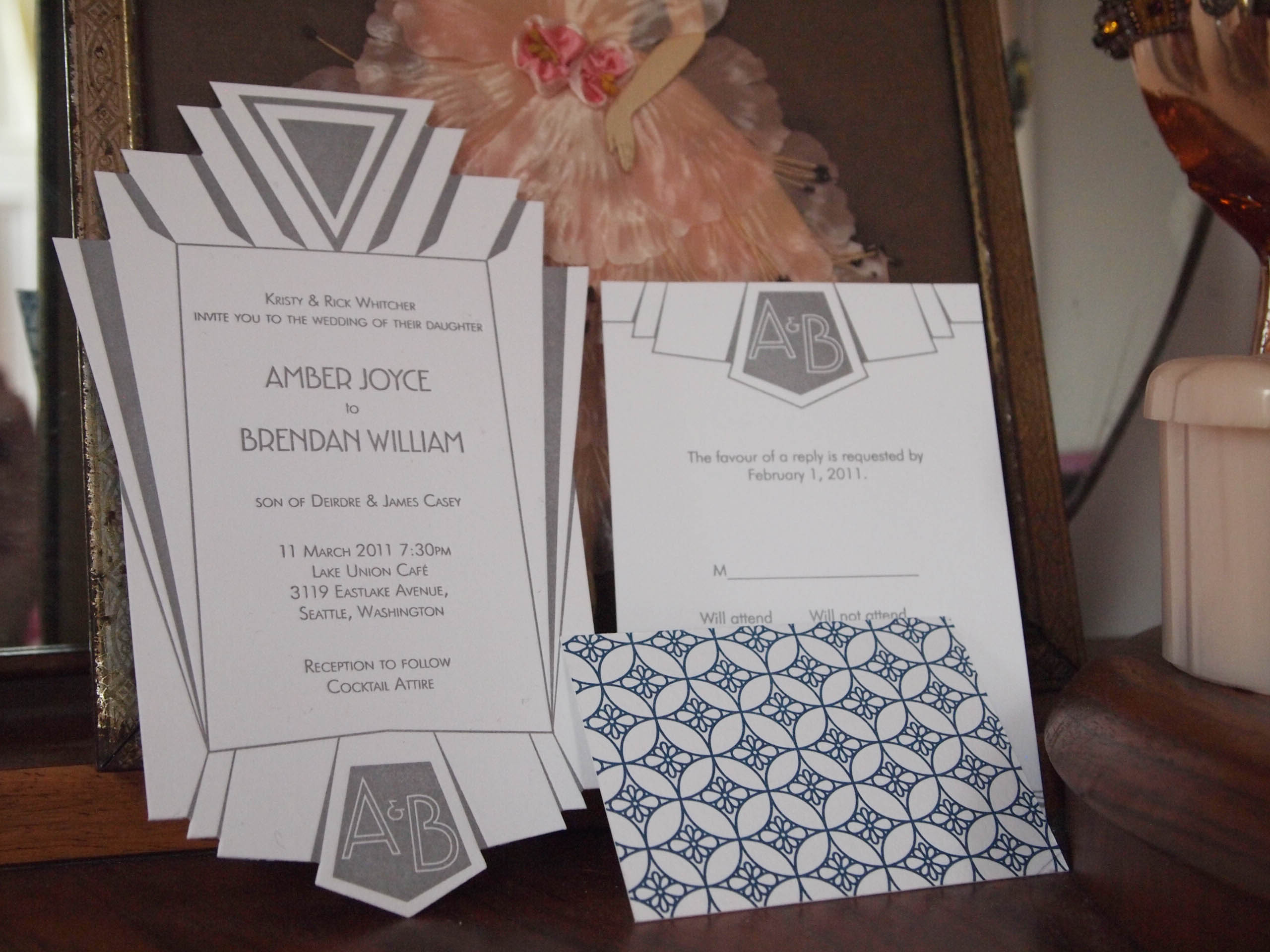 NYC subway inspired deco die-cut letterpress wedding invitation suite