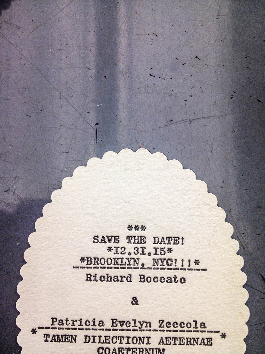 Scalloped edge letterpress save the date for Richard Boccato.