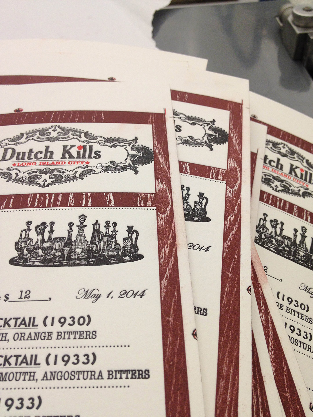 Dutch Kills 5th anniversary letterpress printed menus